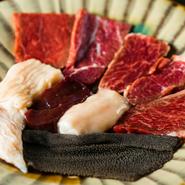 上ロース/上カルビ/ハラミ/ホッペ/ミノ/しま腸/レバー/丸腸/センマイ/ハツ