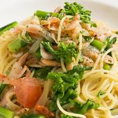 スパゲッティーニ 桜えびと菜の花のアーリオオーリオ