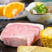 『国産牛の網焼きステーキ』といった肉料理も楽しめます