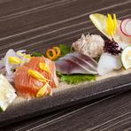 五島の旬魚の美味しさを伝える『五島海山彩々造り盛合せ』