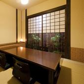 落ち着いた雰囲気の個室は、大切な人のおもてなしの場としても