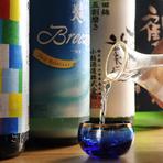 全国各地から届く銘酒、40種類の中から好みの1本が見つかります
