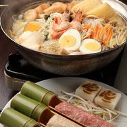 大島部屋で長年ちゃんこ番を務めた料理人が提供する「ちゃんこ鍋」。20種類以上の具材、それぞれの旨みがお鍋の中で一つに。そこに相撲部屋の歴史と料理人の愛情が加わり、最後の一滴まで美味しくいただけます。