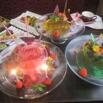 飴細工プレートの記念日ケーキ
