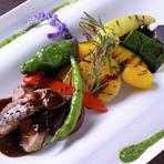 野菜のジューシーさを味わう『グリル野菜と本日のお肉料理』
