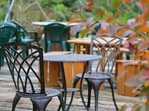 開放的な景色を眺めながらガーデンカフェで心和むひととき