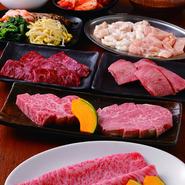 サラダ・キムチ・ナムル・上タン・ステーキ・焼きしゃぶ・ホルモン・その他焼肉等 2名様からご注文可能