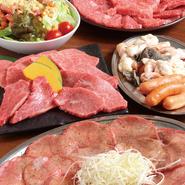 塩タン(2人前)・特選3種塩焼き・上焼肉盛り合わせ・ホルモン・ウインナー・ キムチ・サラダ