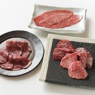 国産A5黒毛和牛のみを使用。 料理長お勧めの極上希少部位盛り合わせがこの価格で!