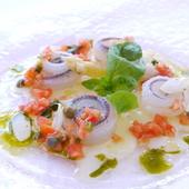 サヨリのマリネ ホワイトアスパラガスとフルーツトマトのソース