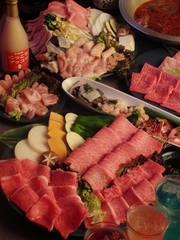 特選和牛大皿盛り+韓国鍋+飲み放題付きの得々プラン