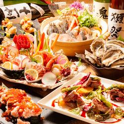函館産活いか、厚岸産カキ、活ほたての炙り焼きを盛り込んだ、贅沢なコースです。