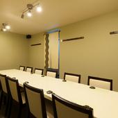 少人数から大勢が集まる席まで、利用可能な個室
