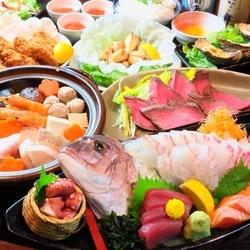 海鮮メインのお得な全8品★金土も飲み放題3時間お楽しみいただけます!いつでも枝豆+ポテト食べ放題付☆