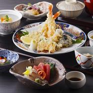 先付/造り/煮物/主菜 魚料理 または 肉料理 または 天麩羅から一品/食事 白御飯、赤出し、香物/デザート
