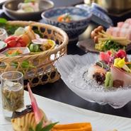 前菜/吸物/造り/煮物/焼物/合肴/食事/留椀/香物/水菓子