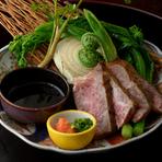 新潟県産の和牛を使った『和牛サーロインあぶり 季節野菜添え』
