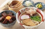 ボリュームたっぷり『温かいきしめん+味噌カツ丼』