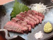 柔らかくジューシーな牛肉の旨み『特選和牛岩塩あぶり焼き』