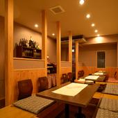 和空間でイタリアン。カウンター、テーブル席ともに掘りごたつ式