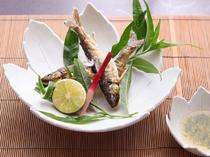 季節の風物詩「鮎」 ※料理は一例。季節ごとに変更。要予約。