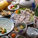 120分飲み放題付きで税込9000円ポッキリ  冬はてっちりがおすすめです 付だし、てっさ、湯引き、唐揚げ、てっちり、雑炊、甘味