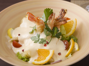 ポップさも感じてほしい創作和食『エビマヨ~オレンジ風味~』