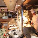 料理人の調理手順や出来あがりを目で楽しめる、ライブキッチン
