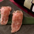 一日限定10食だからぜひ注文したい『厳選和牛あぶり寿司』