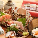 季節の魚介が楽しめる『産直鮮魚でのお刺身の盛合せ』