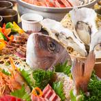 脂ののった戻り鰹と特製つくね鍋が美味!自家製の特大牡蠣フライも目玉料理のひとつ!