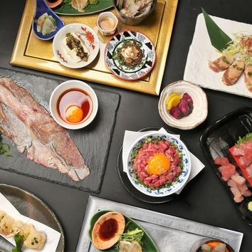【黒潮コース】牛タン鉄板とろ肉タワー鍋orとろろ牛タンしゃぶ