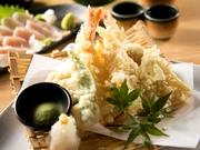 旬の鮮魚と新鮮な野菜をさっくりと揚げました。