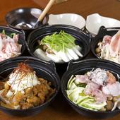 〆は冷麺。人気の5種の鍋に加え、「季節の鍋」も