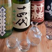 旨口・辛口・スパークリングなど、多数の日本酒を用意