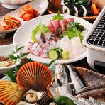 高知の新鮮海の幸が楽しめるコースです。オプションで伊勢海老のトッピングもできます(別途料金)
