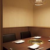 少人数でも利用可能な、各種個室も完備しています
