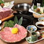 コースはしゃぶしゃぶ・すきやき、それぞれをメインとした6種類、「神戸牛」を味わい尽くせる合計9つのプラン。全席が個室になっているので、忙しい年の瀬もゆっくりとくつろぎながら、上質な料理を堪能できます。