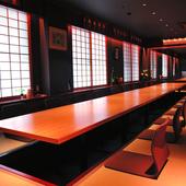 個室は6室。28名収容可能な「花月」は各種の宴会に