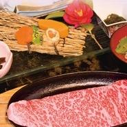 特撰近江牛ステーキ・季節の前菜・季節の炊き込みご飯・おみそ汁