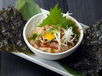 韓国ノリで、巻いて食べる『ねぎとろユッケ』