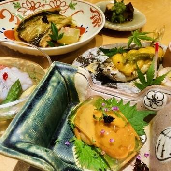 季節の懐石コース(8品)*7品にご飯物を加えたコース
