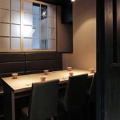 全席個室。個室料など別料金なし。上質の空間を楽しめます