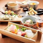 黒毛和牛ロースステーキや天然の鮮魚等、自慢の定食を贅沢にお楽しみいただけます