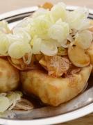絹ごし豆腐を揚げて、香ばしいガーリックチップと甘辛のたれ、ネギがたっぷり乗った逸品。