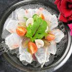 鯛のカルパッチョ  ~ラズベリーとコラーゲンの真珠ジュレソース~