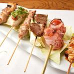 串焼きの食感や味の違いを楽しむ『串焼き盛り合わせ おまかせ 6本/10本』