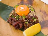 まるでお肉のよう『超希少部位!  三崎鮪のど肉ユッケ』