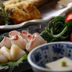 個室(堀ごたつ席)で、ゆったり寛ぎながら心と体にやさしい豆腐料理をはじめとする様々なオリジナル料理と、高知の地酒をはじめとするドリンクで、楽しい時間をお過ごし下さい。