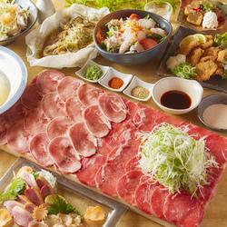選べるメインは人気の牛タンしゃぶしゃぶor白湯と旨辛麻辣の2色しゃぶしゃぶ!各種ご宴会にお薦め!